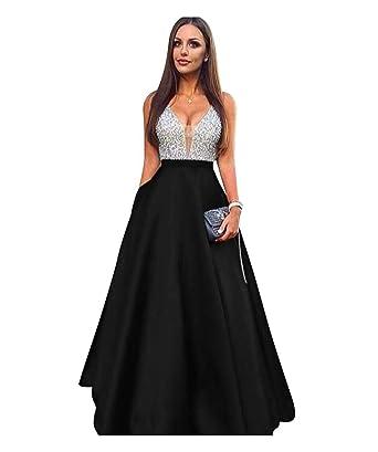 dda5373f90 ScelleBridal Beaded Crystal Prom Dresses 2018 Long Satin Evening Gown Black  2