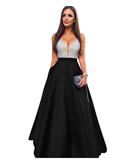 273dfc92d9 ScelleBridal Beaded Crystal Prom Dresses 2019 Long Satin Evening Gown
