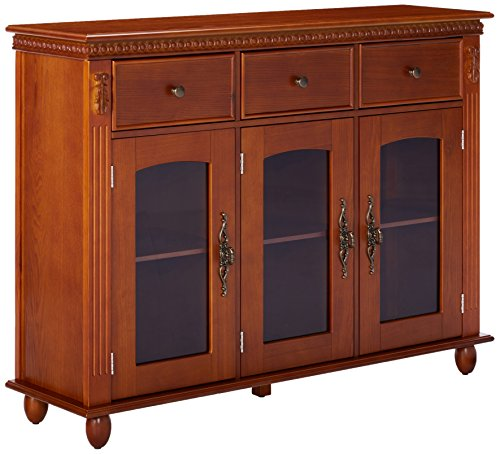 Kings Brand Furniture Wood With Glass Doors Console Sideboard Buffet Table Storage Walnut