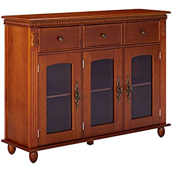 Wonderful Kings Brand Furniture Wood With Glass Doors Console Sideboard Buffet Table  With Storage, Walnut