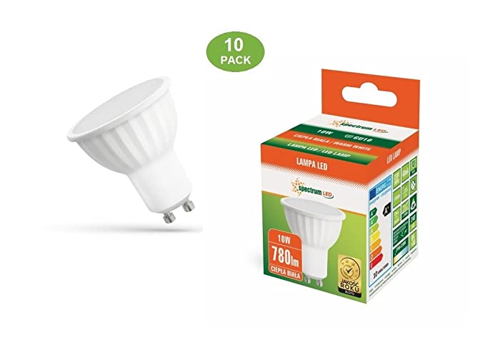 ESPECTRUM - Lote de 10 bombillas led GU10, 10 W, blanco cálido, 2700