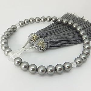 【青山仏具】黒蝶貝パール(母貝真珠)数珠 女性用(主珠8mm)数珠袋付き