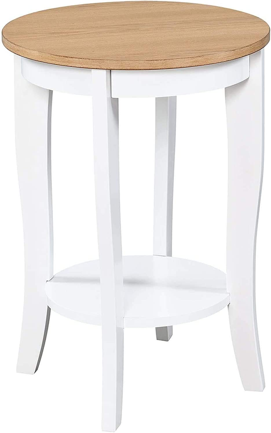 Convenience Concepts American Heritage Round End Table, Driftwood / White