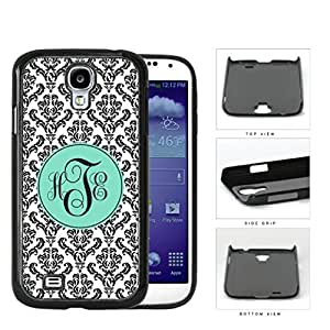 Black And White Damask With Teal Monogram (Custom Initials) Hard Plastic Snap On Cell Phone Case Samsung Galaxy S4 SIV I9500