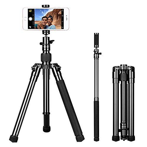 MOMAX Compact Tripod, 52 Inch 1.87lbs Lightweight Aluminum Alloy Camera Tripod Monopod Stand with Phone Grip+360 Degree Ball Head + 1/4'' Quick Release for DV Canon Nikon Sony DSLR Cameras,Black by MOMAX