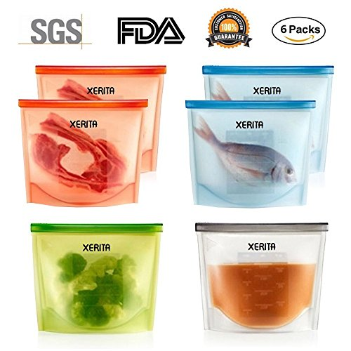 Price comparison product image 6 Packs Reusable Silicone Food Bag,  Silicone Food Storage Bag,  No Leak,  Tight Seal,  Safe for Microwave & Freezer,  Large 1000 ML Silicone Food Savers,  Sous Vide Bags - 2 Red,  2 Blue,  1 Green,  1 White