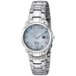 Seiko Women\'s SUT213 Solar Silver-Tone Stainless Steel Watch