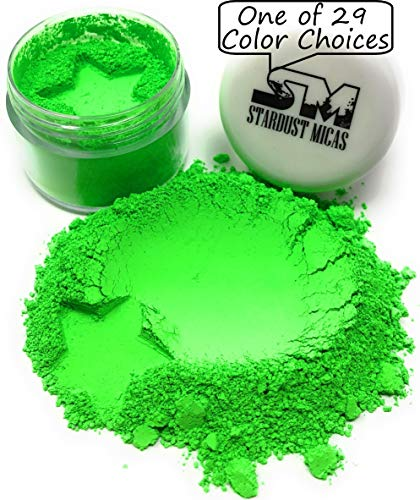 - Epoxy Resin Color Pigment Mica Powder for Soap Making Supplies, Slime Coloring, Bright True Fluorescent Colors Cold Process Stable Matte Dye Colorant Stardust Micas Neon Green Lightning
