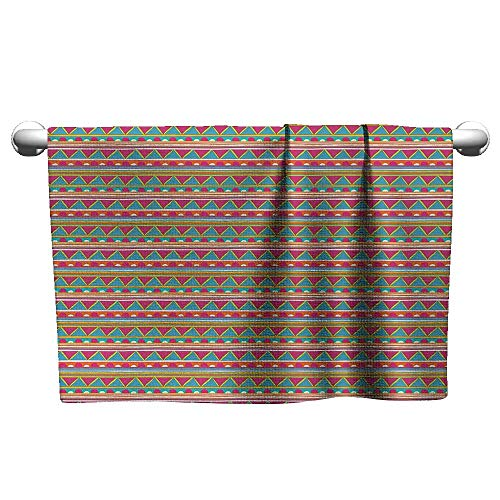 (Bensonsve Custom Towel Abstract,Tribal Colorful Vintage Doodle Shapes with Ethnic Stripes Triangles Arrangement,Multicolor,freestanding Towel Racks for Bathroom)
