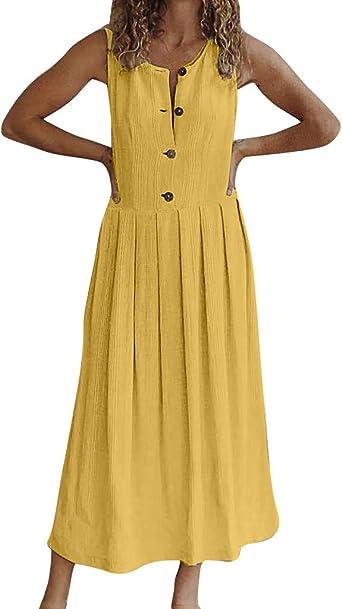 FOTBIMK damska okrągły dekolt guzik jednokolorowa długa sukienka bez rękawÓw: Odzież