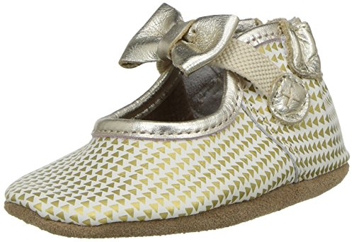 Price comparison product image Robeez Girls' Mary Jane Soft Soles Crib Shoe,  Triangle Print Gold,  0-6 Months M US Infant