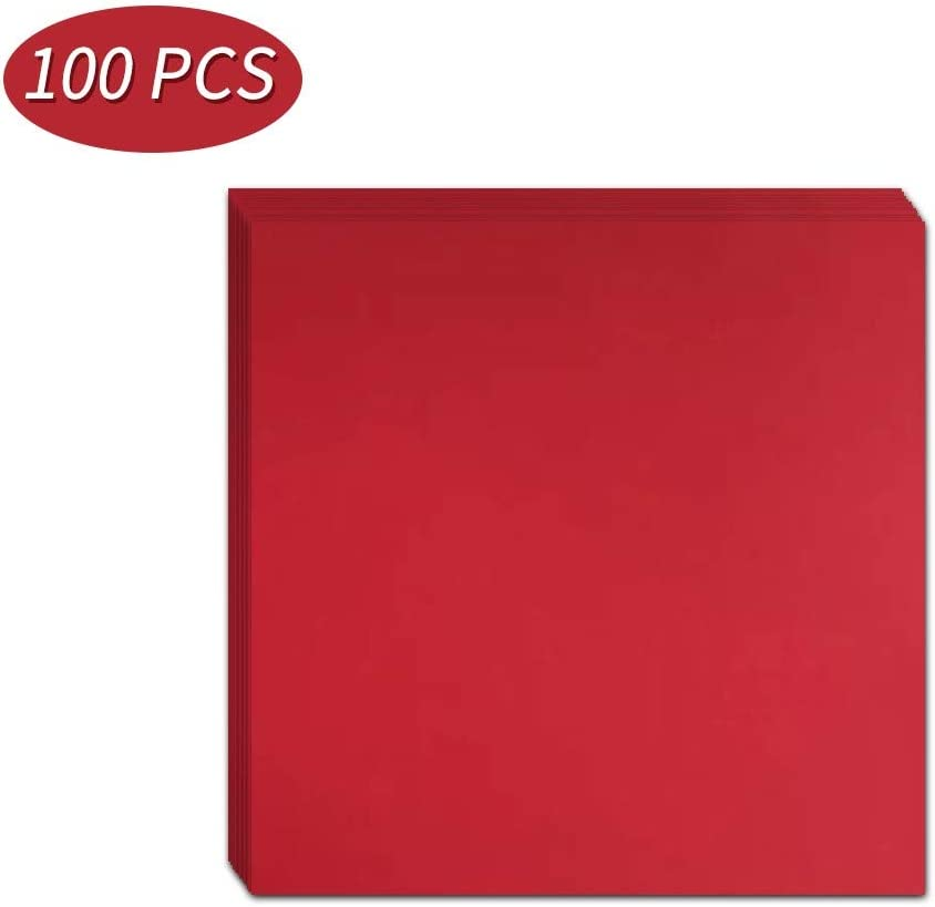 15 x 15cm Square Red Paper Crafts All-Purpose Loose Drawing Paper Hand Cut Folding Material for Kindergartens 100 PCs Schools or Workplaces Kids Adults DIY Kraft Paper