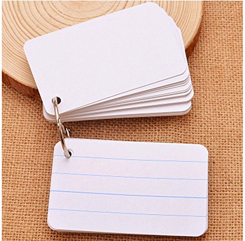 200 Sheets Hole Punched and Perfed Words Study Card Flash Cards with 4 Metal Binder Rings, Style A(4 Ruled Line Front, Blank Reverse)