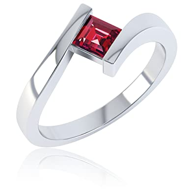 Ruby Heart Stackable Silver Crossover Ring jqXhJdQ1C