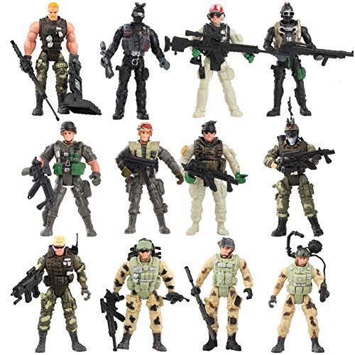 (Liberty Imports 12 Pack - Special Forces Army Combat SWAT Soldier Action Figures with Military Weapons and Accessories (4-Inches))