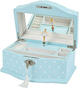 Art Lins Elle Ballerina Music Jewelry Box with Lock, Girl's Keepsake Storage Box, Wind Up Music Wooden Case, Large (Blue)