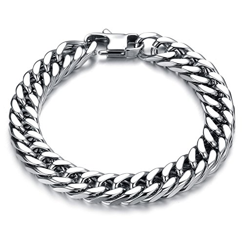 P. BLAKE Link Chain Bracelet for Men Stainless Steel, 12mm Width ()