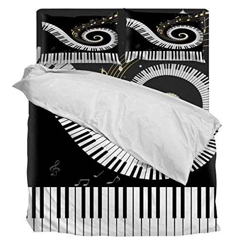 Home Duvet Cover Set Queen Size Musical Note Black and White Printed 4 Pcs Bedding Set Include Duvet Cover, Flat Sheet, Pillow Shams for -
