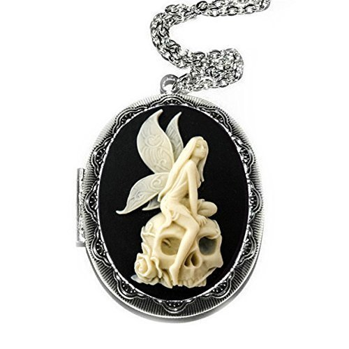 (Angel Skull Cameo Locket Necklace)