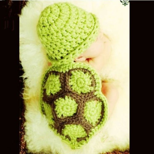 [Matissa, Baby Photography Prop (Turtle) Newborn Baby Girl Boy Crochet Knit Costume Photo Photography Prop Hats Outfits] (Turtle Baby Costumes)