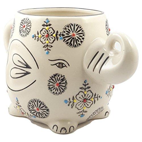 Happy Sales Hand-Painted Elephant Coffee Tea Mug Cups (Henna II) - Painted Elephant