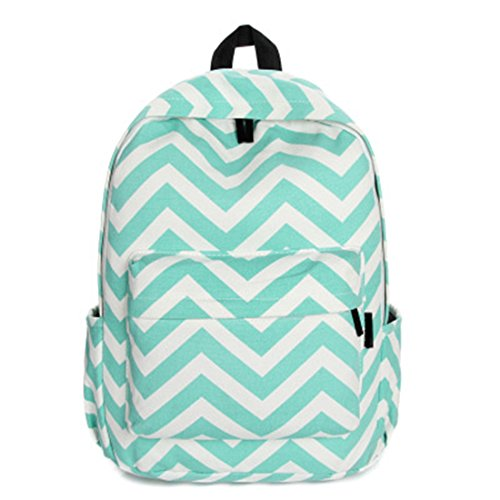 New Cute Ladies Girls Moire Canvas Satchel Rucksack Backpack Shoulder School Bag (Mint green)