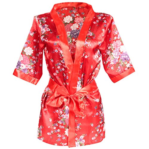New 1 Set Hot Sexy Women G-string Lingerie Satin Lace Red Kimono Intimate Sleepwear Robe Sexy Night Gown women Sexy Underwear (Victorias Secret Bikini Pad)