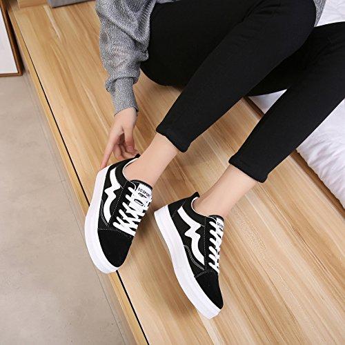 Zapatos Moda Y Joker Bajo Junta Mujer Plana Calzados Primavera De Cordones Zapatos El Deportivo HBDLH Ocio white Otoño vpn56OIwSq