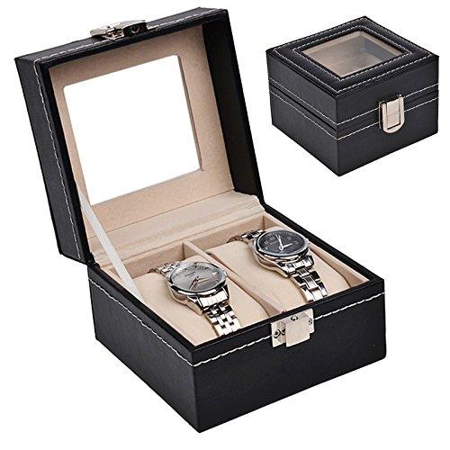 Discountoase Uhrenkoffer Uhrenbox Schaukasten Uhrenkasten Uhrenvitrine für 2 Uhren Leder-Look Echtglas-Fenster
