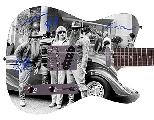 ZZ Top Autographed Signed Custom Graphics Guitar from Celebrity Graphs