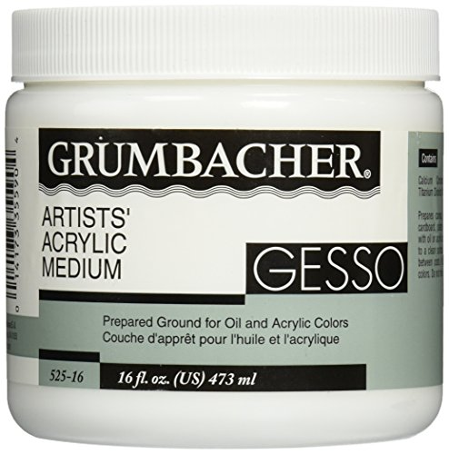 GRUMBACHER Gesso (Hyplar) Artists' Acrylic & Oil Paint Medium, 16 oz. Jar (0146640448), Packaging May Vary (Best Gesso For Canvas)