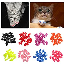 20Pcs/Lot Soft Pet Cat/Dogs Paws Grooming Nail Claw Cap+Adhesive Glue Control Paws Caps Cover Protector-Random Color-Fit: 2.5KG-5.0KG, Width: 0.6CM, Length: 1.2CM