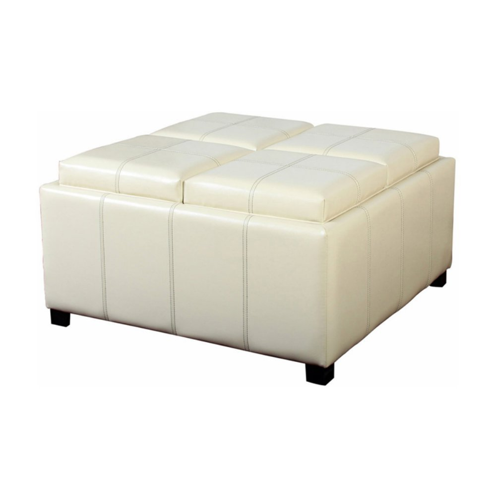 Amazon.com: Best Selling Home Decor Dartmouth Four Sectioned Leather Cube Storage  Ottoman: Kitchen U0026 Dining