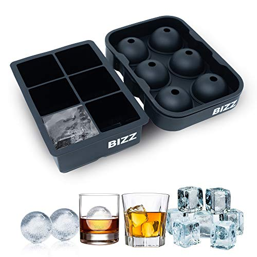 Bizz Silicone Ice Molds (2-Tray Set) Sphere and Cube Combination | Flexible, Reusable, BPA Free | Easy to Freeze, Remove Contents | Whiskey, Bourbon, Cocktail or Drink ()