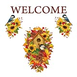 Collections Etc Welcome Fall Garage Door Magnet Outdoor Autumn Decoration, Pinecones, Sunflowers, Chickadees, 12 x 19 inches