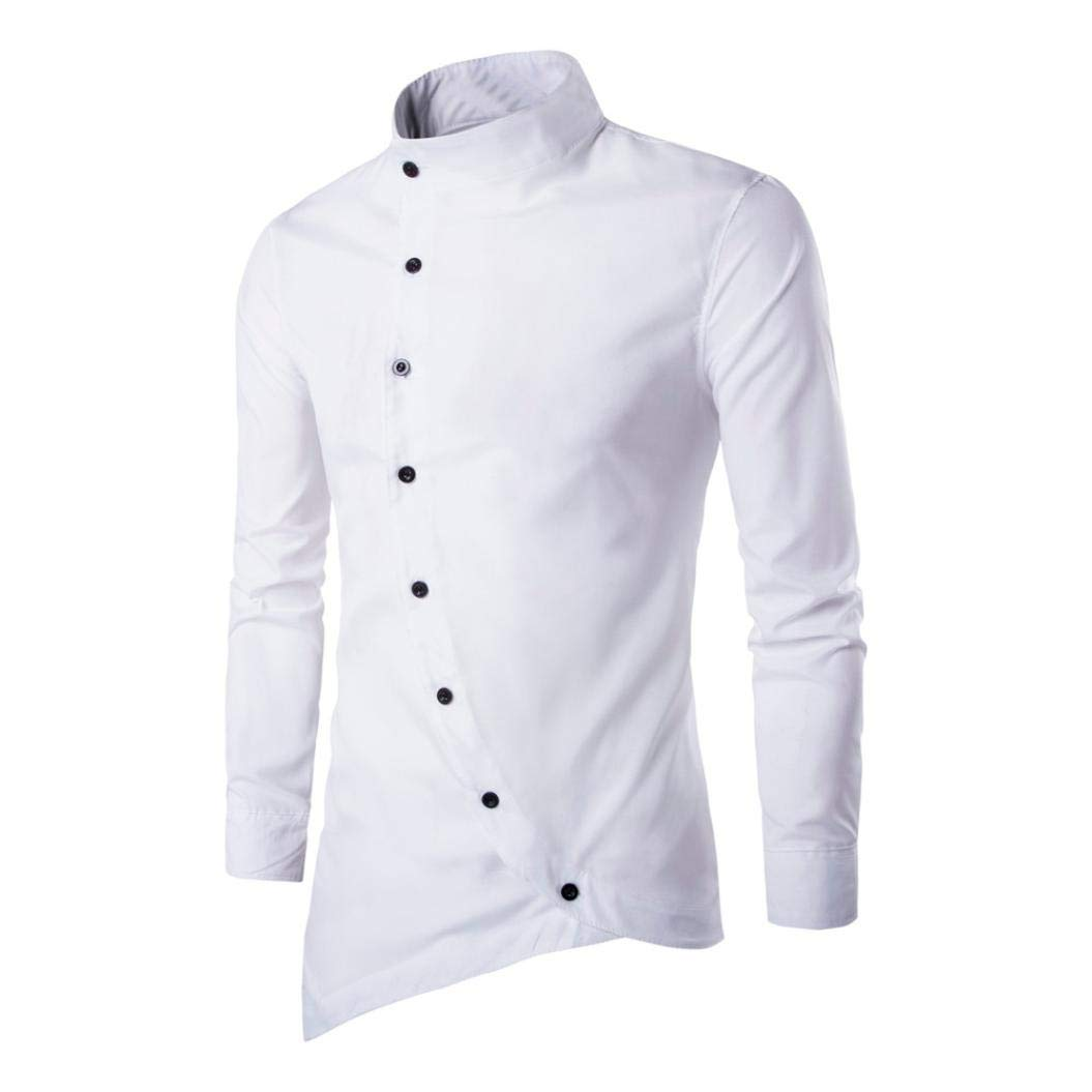 de04da3344c6 SINBOY Hot Sale Mens Casual Irregular Button Slim Fit Long Sleeve Stylish  Party Dress Shirt (White, XXL): Amazon.in: Clothing & Accessories