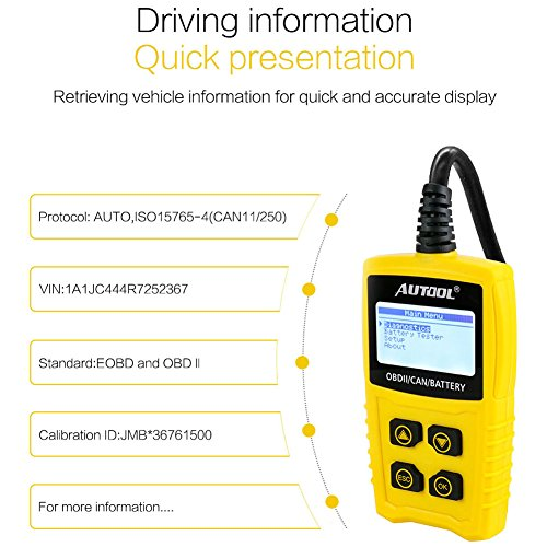 AUTOOL OBD2/EOBD Code Reader, CS330 Automative Diagnostic Code Scanner with Voltage Meter Car Engine Fault Code Reader with I/M Readiness for CAN OBD 12V SUV/Car/Van by AUTOOL (Image #3)