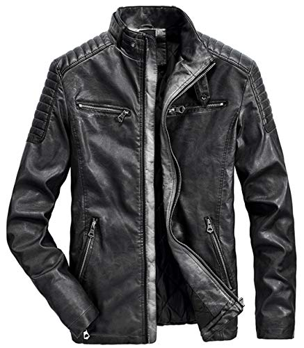 Itemnew Men's Retro Belted Collar Zip Distressed Moto Faux Leather Biker Jacket (X-Large, Black)