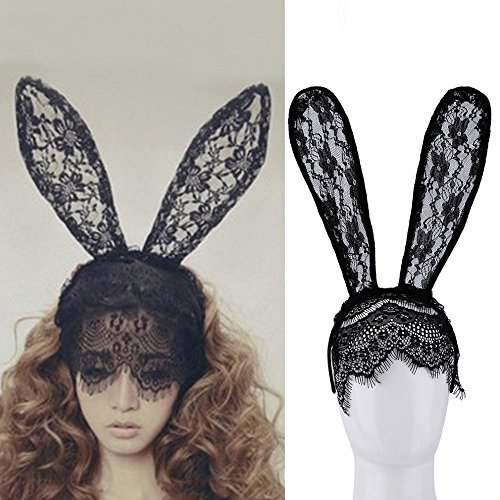 Smilingtree Fashion Women Girl Hair Bands Lace Rabbit Bunny Ears Veil Black Eye Mask Halloween Party Costume Party Headwear Hair Accessories ()