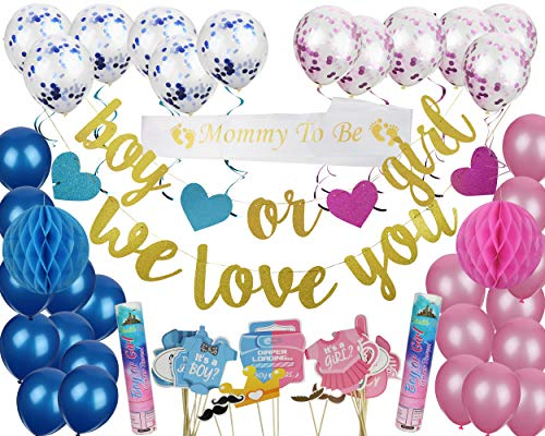 Gender Reveal Party Bundle - Boy & Girl Party Reveal Décor - With Balloons, Sash, Spiral Streamers and Air Confetti Cannons for Boy & Girl - Complete Party Throwing Kit - Pink & Blue Bundle (Blue)]()