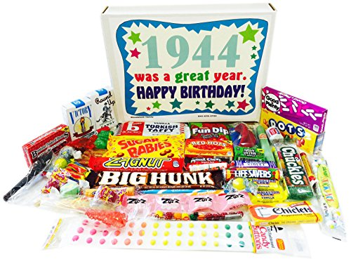Woodstock Candy 1944 74th Birthday Gift Box of Retro Nostalgic Candy from for 74 Year Old Man or Woman
