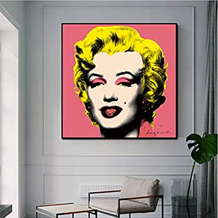 Hao Sai's shop Cartel Andy Warhol Imagen Marilyn Monroe Mujeres Sexy Impresiones Lienzo Pintura Arte De La Pared Imágenes para La Sala Cuadros Decoración para El Hogar B22 50X70Cm Sin Marco