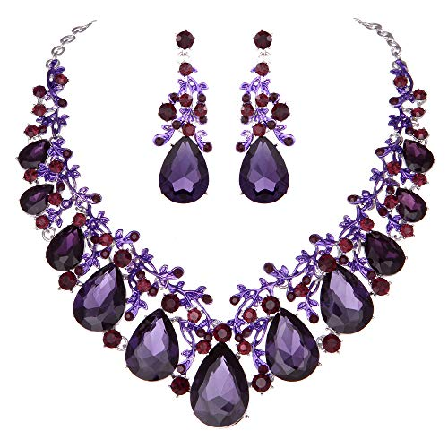 Youfir Austrian Crystal Leaf Statement Wedding Necklace and Earrings Jewelry Sets for Women Formal Dress(Purple) ()
