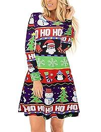 Ruiyige Women's Snow Tree Print Casual Christmas Dress Party Dress