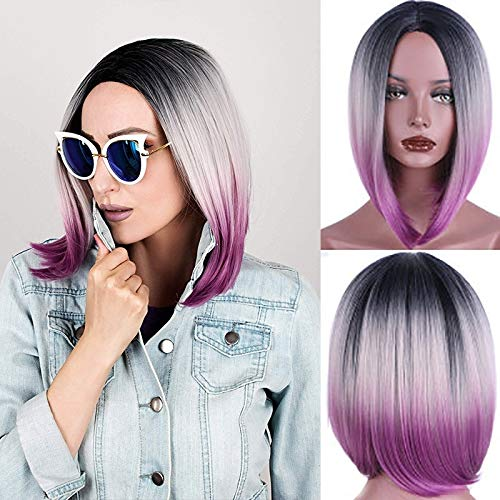 Diy-Wig Women Short Bob Ombre Wigs Natural Synthetic Cosplay Purple Wig for Daily Party]()