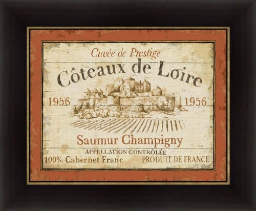 French Wine Labels II by Daphne Brissonnet Vintage Style Sign Wall Art Print Framed Décor (Label Framed Wine)