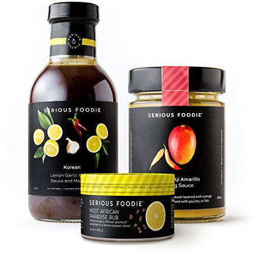 The Serious Foodie Sampler Pack - East Meets West: Korean Lemon Garlic Grilling Sauce & Marinade, Mango & Aji Amarillo Cooking Sauce, West African Paradise Rub