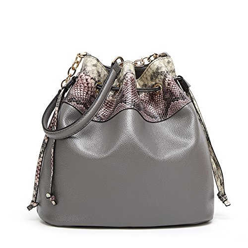 Gray Bags Shoulder Hand Bags Voguezone009 Pu Stitching Contrast Women's qqvRp