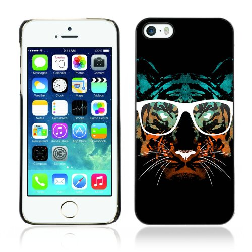 Designer Depo Etui de protection rigide pour Apple iPhone 5 5S / Hipster Glasses Cool Tiger