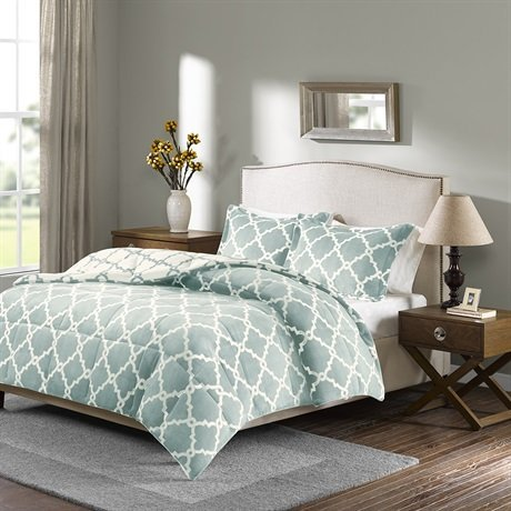 Reversible Plush Comforter Mini Set, Full/Queen, Aqua